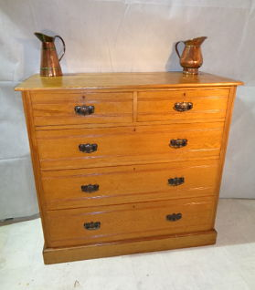 ANTIQUE ARTS & CRAFTS ASH CHEST OF DRAWERS c1875-90
