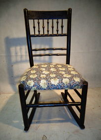 ANTIQUE ARTS & CRAFTS EBONISED ROCKING CHAIR c1880-1900