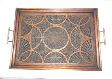 ARTS & CRAFTS OAK CHIPPED CARVED TRAY c1890-1910