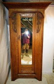 ANTIQUE ARTS AND CRAFTS WARDROBE WITH COPPER HINGES c1890-1910