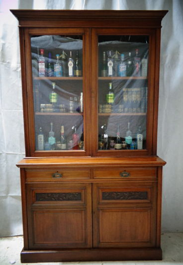 ANTIQUE VICTORIAN MAHOAGANY LARGE BOOKCASE c1880-1900
