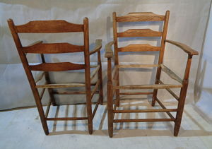 ARTS & CRAFTS PAIR OF CARVER CHAIRS designed by E. GIMSON AND MADE BY EDWARD GARDINER
