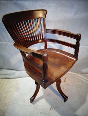 EDWARD WILLIAM GODWIN MAHOGANY SWIVEL OFFICE CHAIR c1881